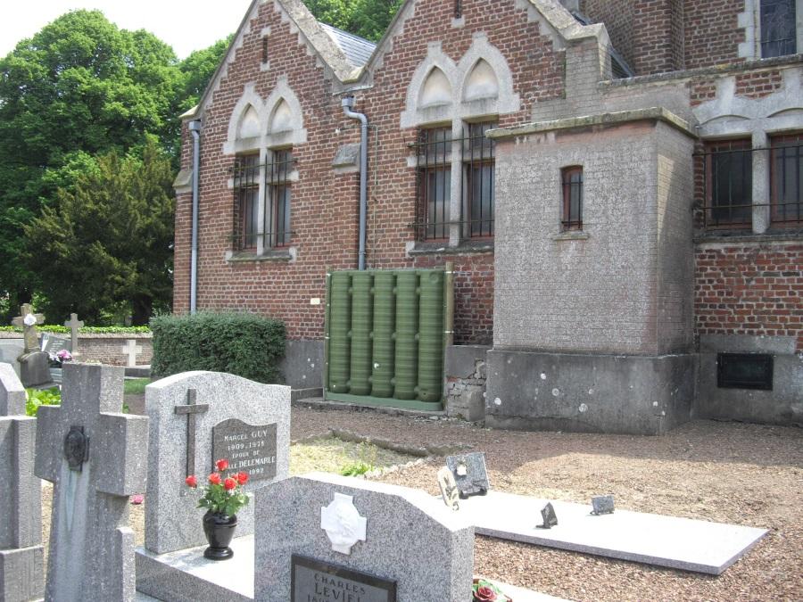 Récupérateur d'eau mural ecoleaumur pour un cimetière