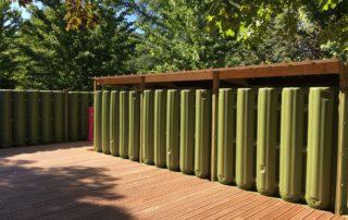 Construction d'une terrasse et d'un abri bois avec des cuves Ecoleaumur